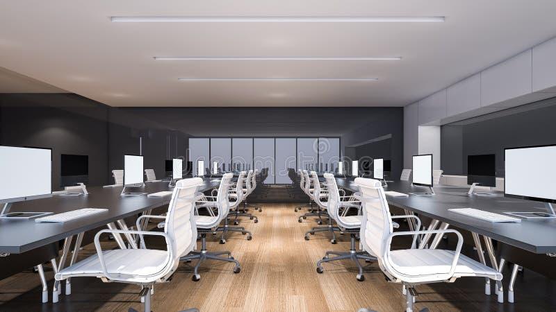 Área moderna do escritório com rendição assoalho/3D de madeira ilustração stock