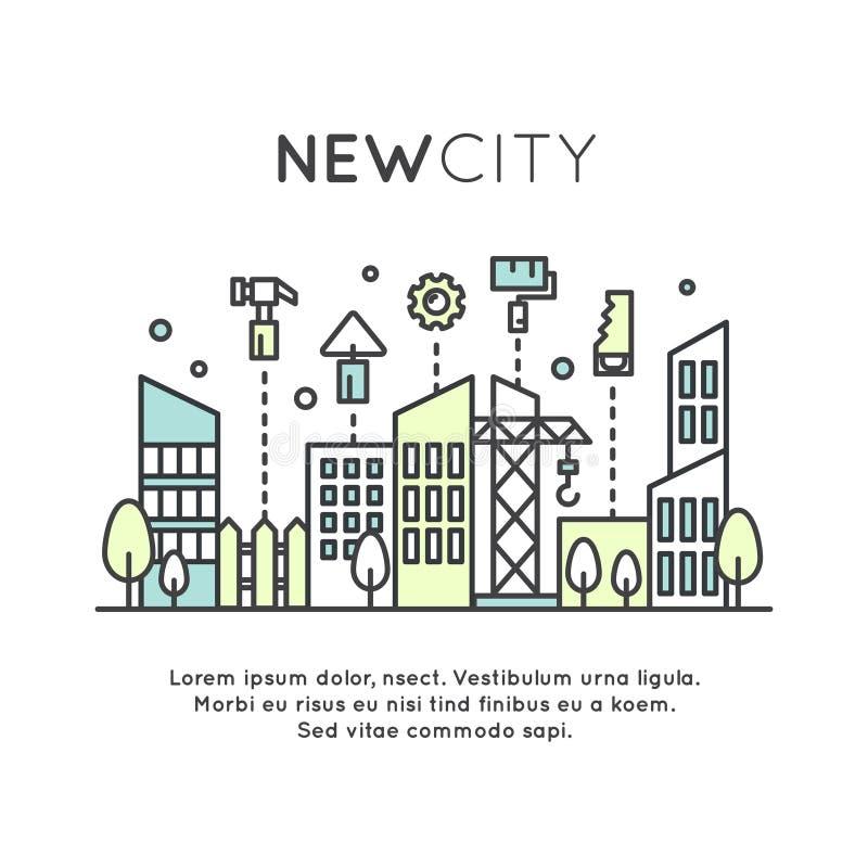 Área nova ou distrito da cidade, acomodação, alojamento, construção e construção ilustração royalty free