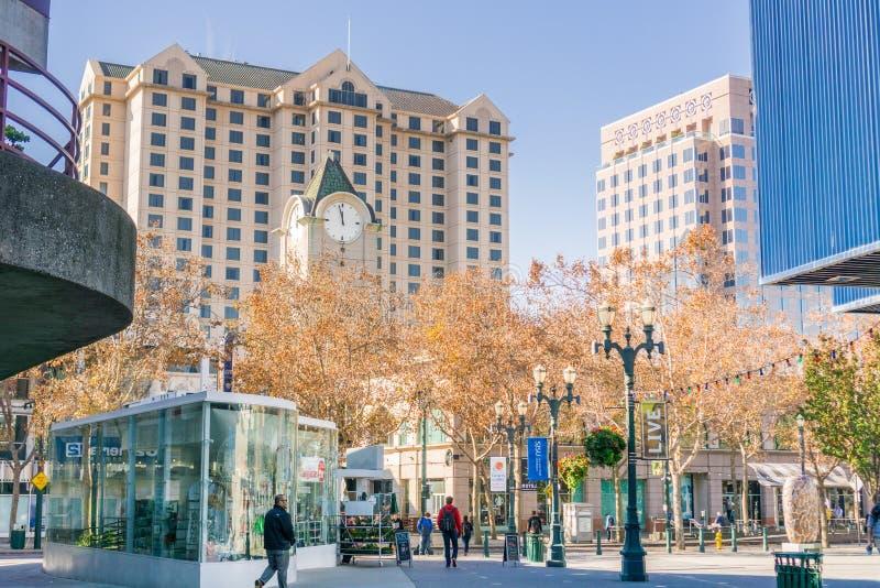 Área pedestre em San Jose do centro foto de stock royalty free