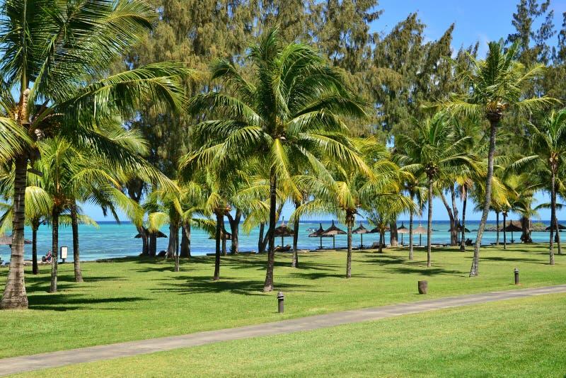 Área pintoresca del La Pointe Canonniers aux. en Mauritius Repu imagenes de archivo