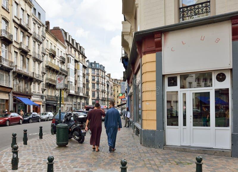 Área popular en Bruselas cerca de Molenbeek imágenes de archivo libres de regalías