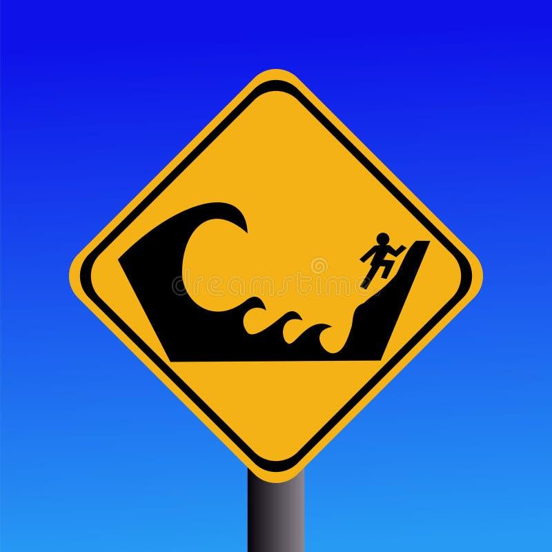 Área propensa do tsunami de advertência ilustração stock