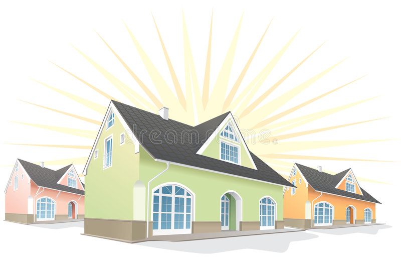 Área residencial, casas. Vetor