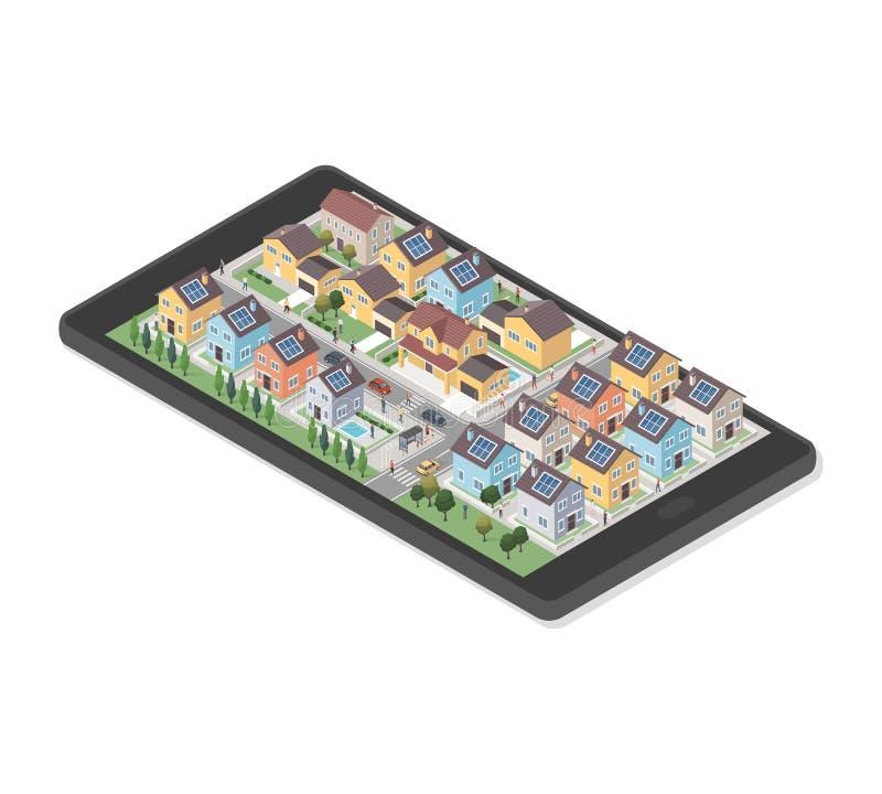 Área residencial em um smartphone ilustração stock