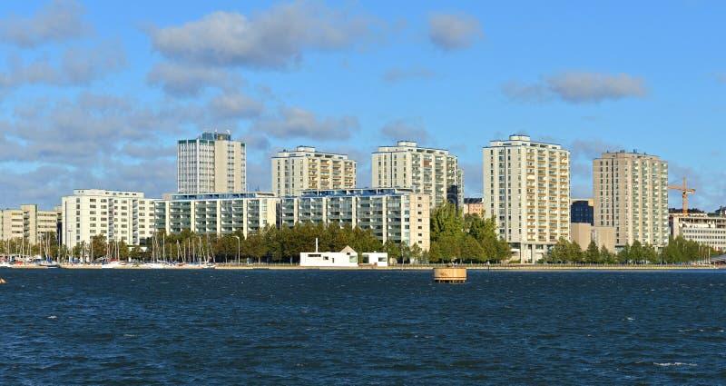 Área residencial moderna Merihaka, Helsínquia Suomi fotografia de stock