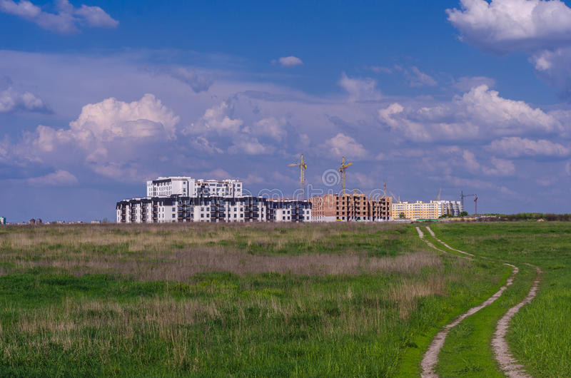 A área residencial nova nos subúrbios imagem de stock
