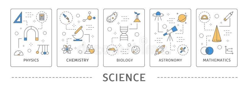 Áreas de la ciencia fijadas stock de ilustración