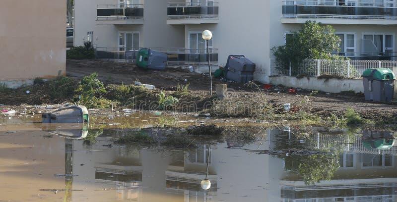Áreas inundadas em Sillot na ilha Mallorca foto de stock