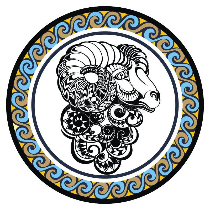 Áries decorativo do sinal do zodíaco ilustração do vetor