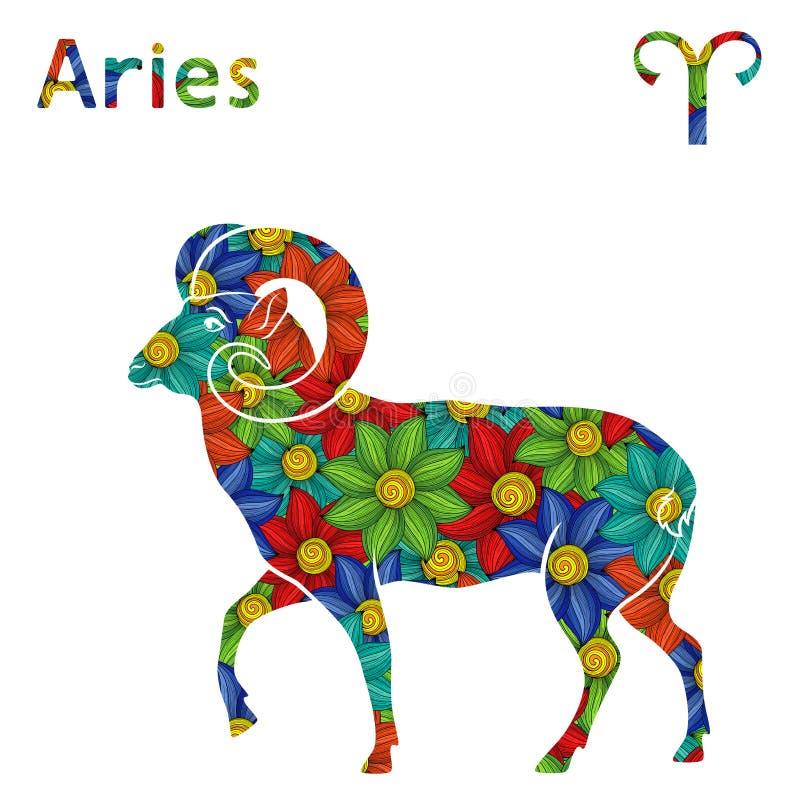 Áries do sinal do zodíaco com flores estilizados ilustração do vetor