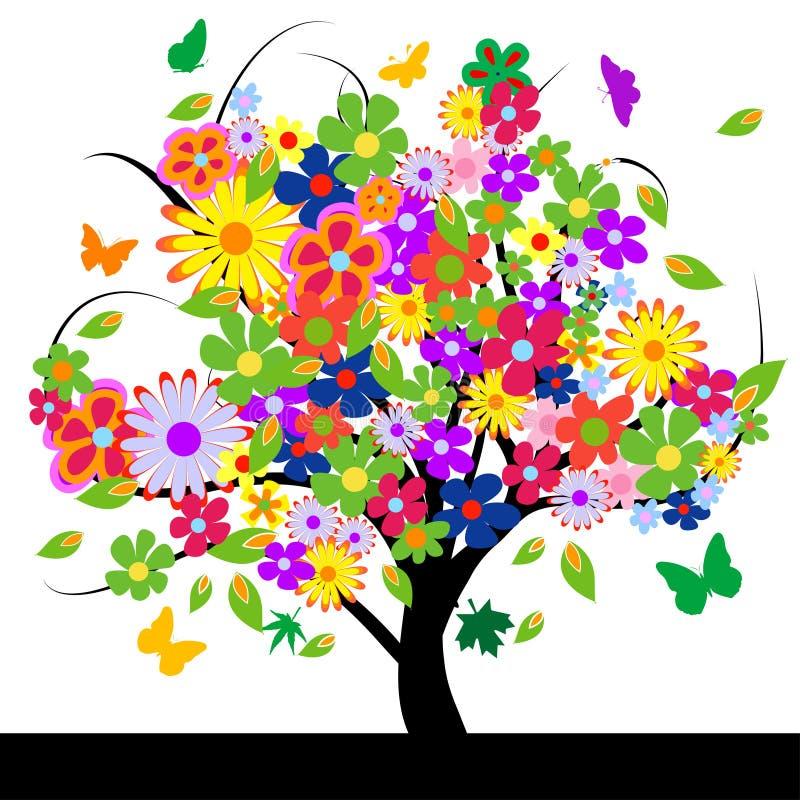 Árvore abstrata com flores ilustração do vetor
