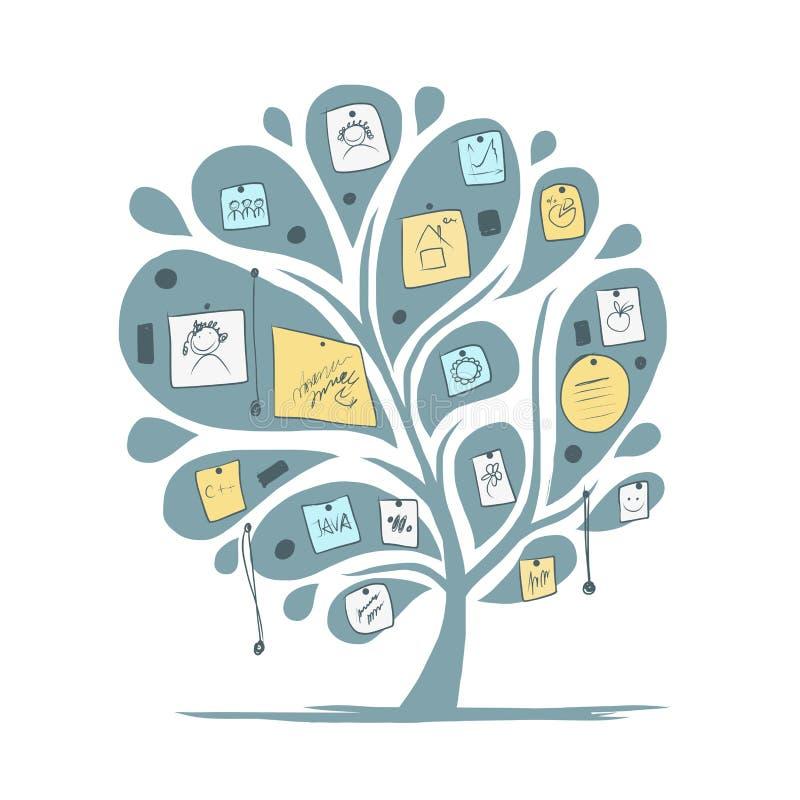 Árvore abstrata com notas para seu projeto ilustração stock
