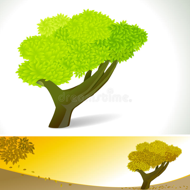 Árvore abstrata da MÃO - bandeira do fundo do vetor ilustração royalty free