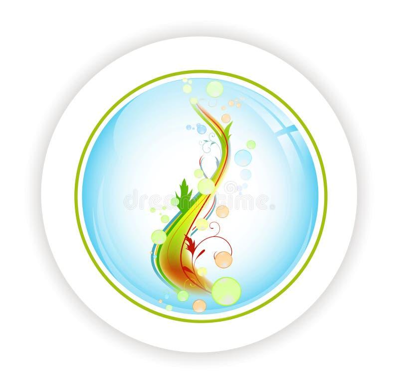 Árvore abstrata da vida com bubblies no ícone redondo ilustração stock