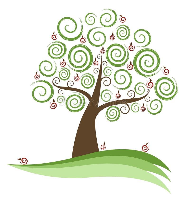Árvore abstrata de Swirly Apple ilustração stock