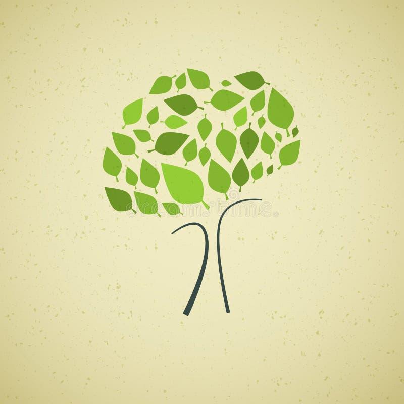 Árvore abstrata do vetor no fundo de papel reciclado ilustração royalty free