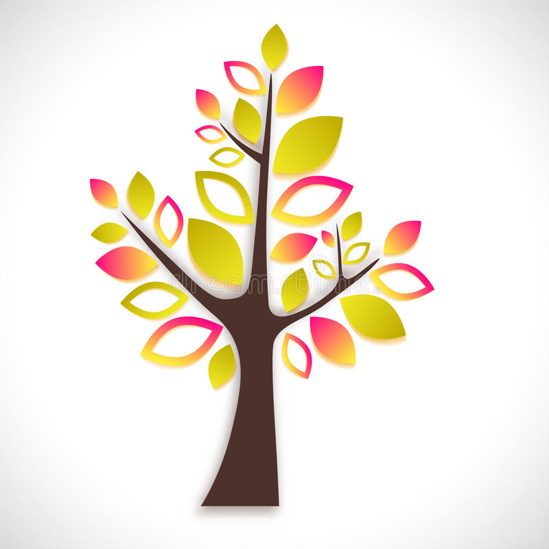 Árvore abstrata no fundo branco - versão do verão ilustração do vetor