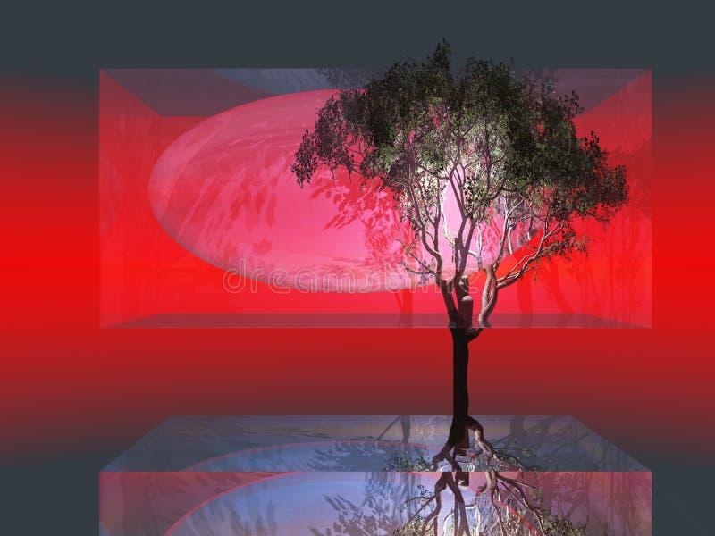 Árvore abstrata no vidro ilustração do vetor