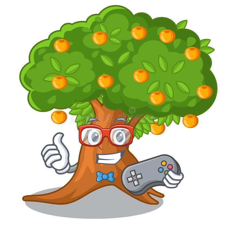 Árvore alaranjada dos desenhos animados do Gamer ao lado da casa ilustração do vetor