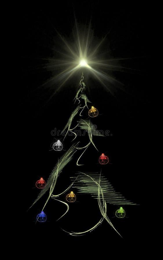 Árvore & estrela de Natal ilustração do vetor