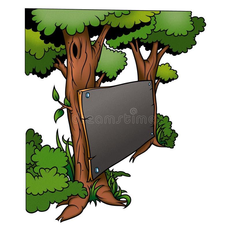 Árvore & quadro-negro ilustração stock