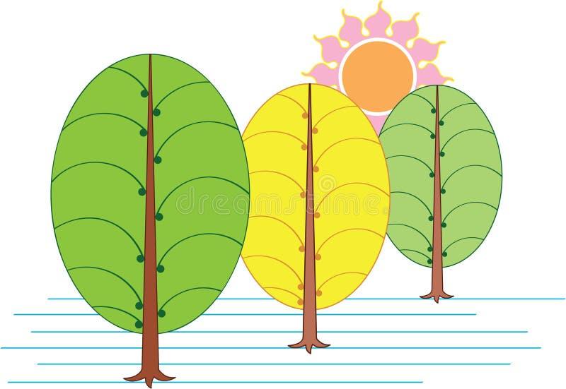Árvore artística & Sun ilustração do vetor
