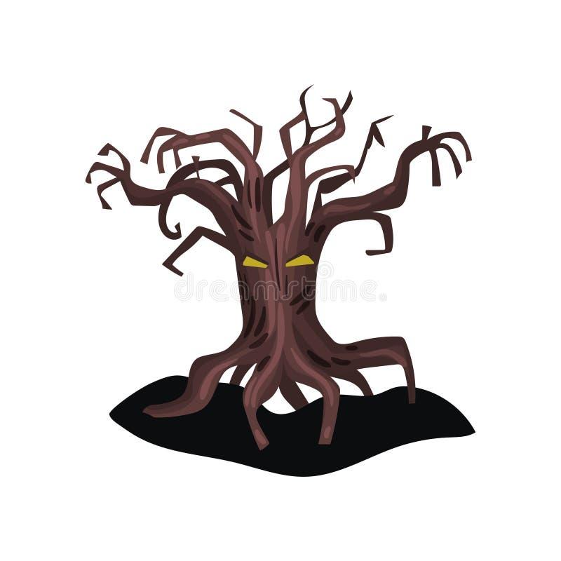 A árvore assustador velha com olhos amarelos e seca ramos desencapados Elemento liso do vetor para o cartaz de Dia das Bruxas ou  ilustração do vetor