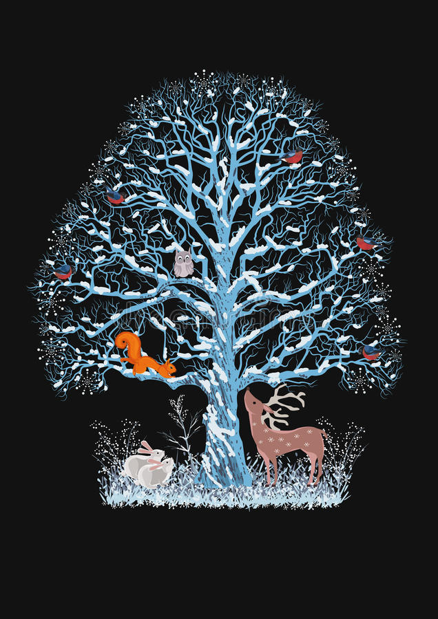 Árvore azul ilustração royalty free