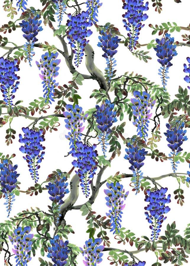 Árvore azul da glicínia ilustração do vetor