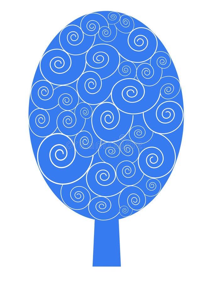 Árvore azul do inverno com teste padrão da neve imagem de stock
