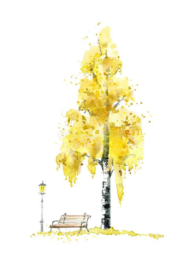 Árvore, banco e lanterna de vidoeiro outono ilustração do vetor