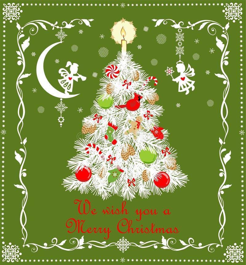 Árvore branca de corte de papel do Natal com os brinquedos verdes vermelhos e vela dourada, flocos de neve feitos a mão de papel  ilustração stock