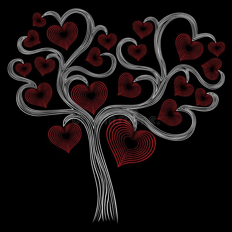 Árvore branca estilizado com corações vermelhos ilustração do vetor