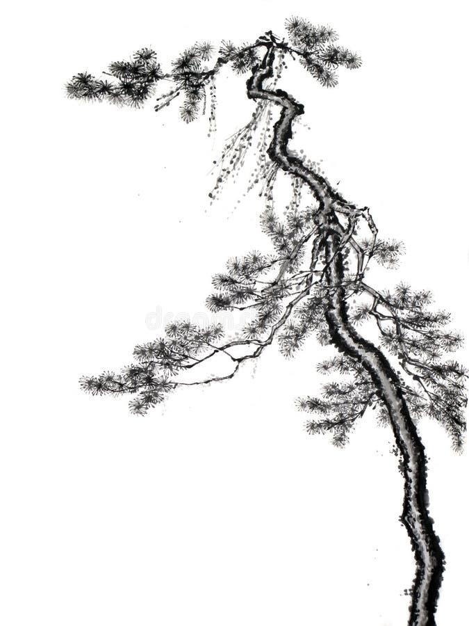 Árvore chinesa do desenho de escova da tinta ilustração stock