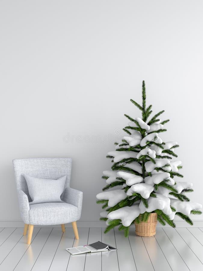Árvore cinzenta do sofá e de Natal na sala branca, rendição 3D imagem de stock
