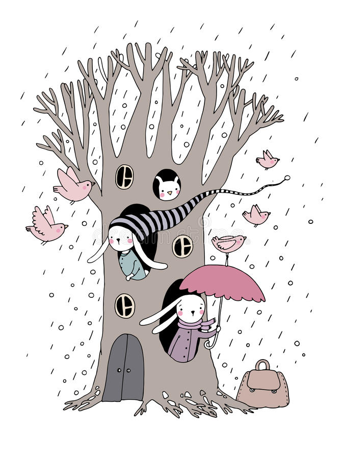 Árvore, coelhos e pássaros mágicos ilustração royalty free