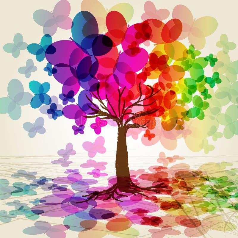 Árvore colorida abstrata. ilustração do vetor