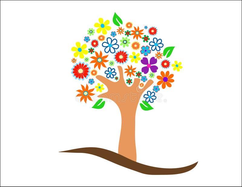 Árvore colorida com flores ilustração do vetor