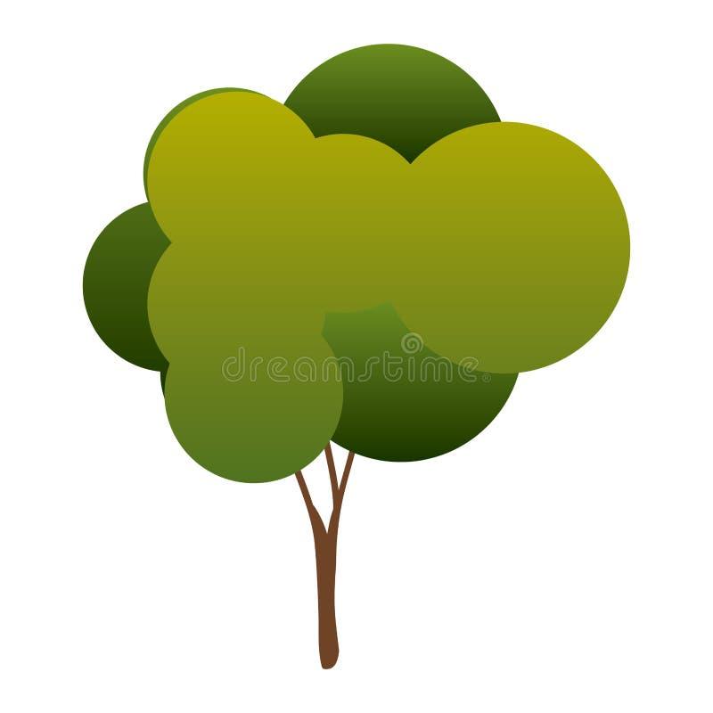 árvore colorida da silhueta com as folhas arredondadas da coroa ilustração stock