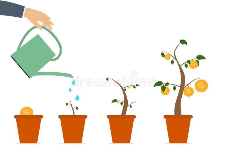 Árvore colorida do dinheiro, dependência do conceito liso do crescimento financeiro ilustração stock