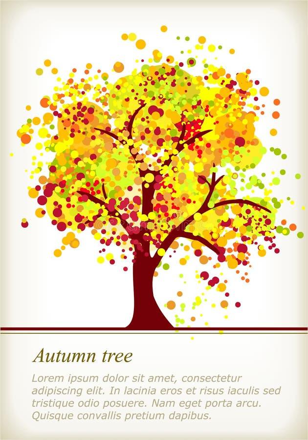 Árvore colorida do outono com espaço para seu texto ilustração do vetor