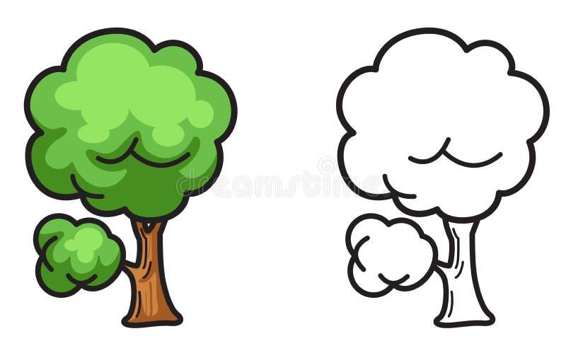 Árvore colorida e preto e branco para o livro para colorir ilustração royalty free