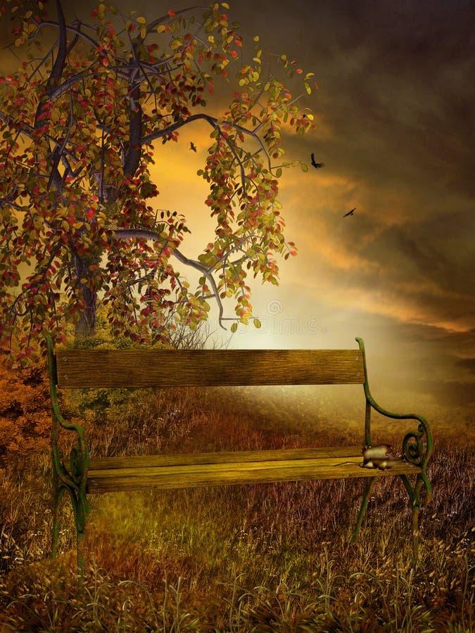 Árvore colorida e um banco ilustração do vetor