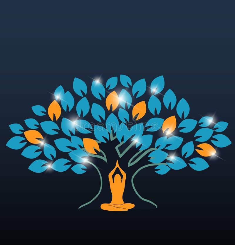 Árvore colorida grande e ioga ilustração do vetor