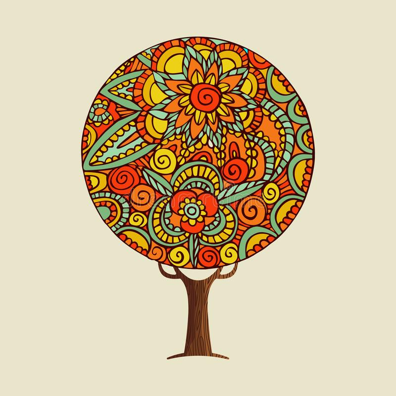 Árvore com arte indiana étnica da mandala da flor do estilo ilustração stock