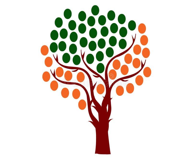 Árvore com as esferas arredondadas similares aos frutos da cor diferente, com ramos ilustração royalty free