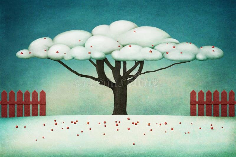 Árvore com bagas vermelhas ilustração do vetor