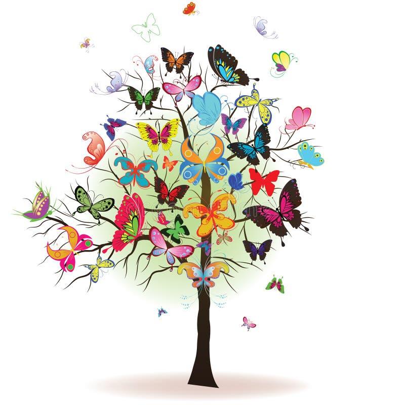 Árvore com borboleta ilustração royalty free