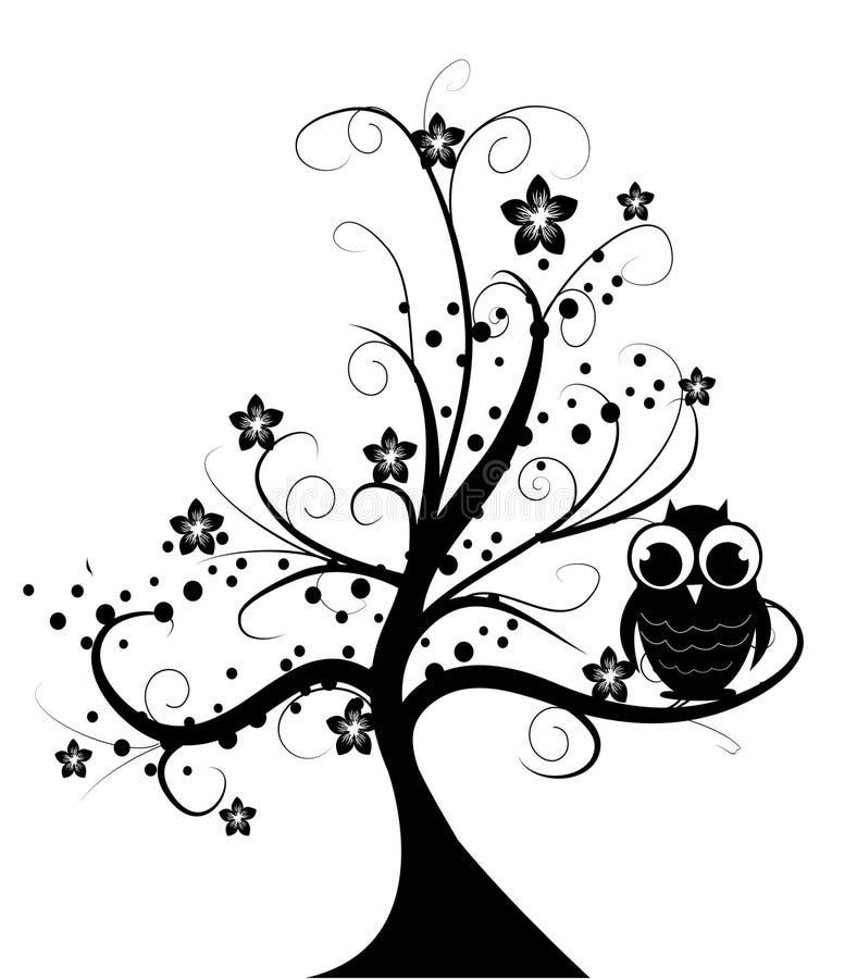 Árvore com coruja pequena ilustração royalty free