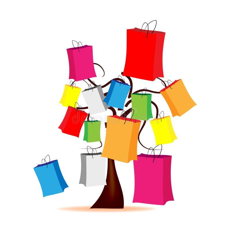 Árvore com envelopes coloridos ilustração royalty free